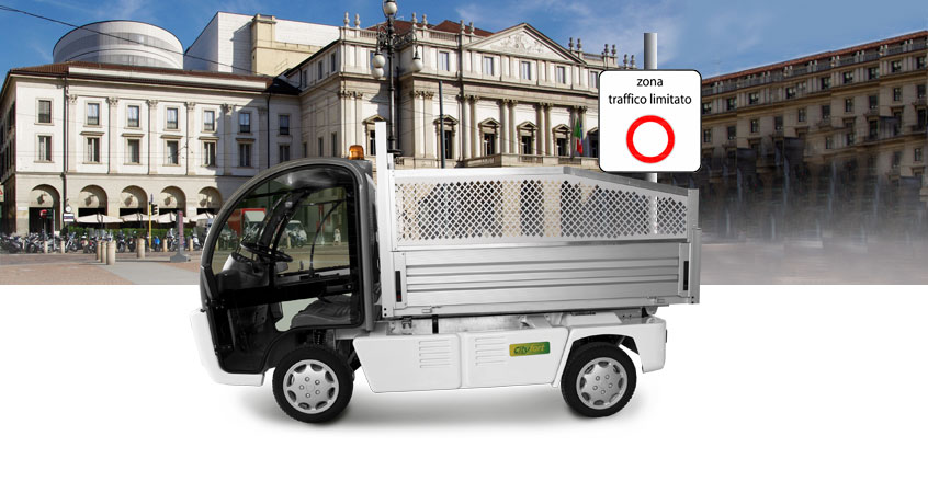 Eco Pic-Up and City Fort, environmentally friendly vehicles, with La Scala in Milan as a backdrop and sign restricted traffic zone.