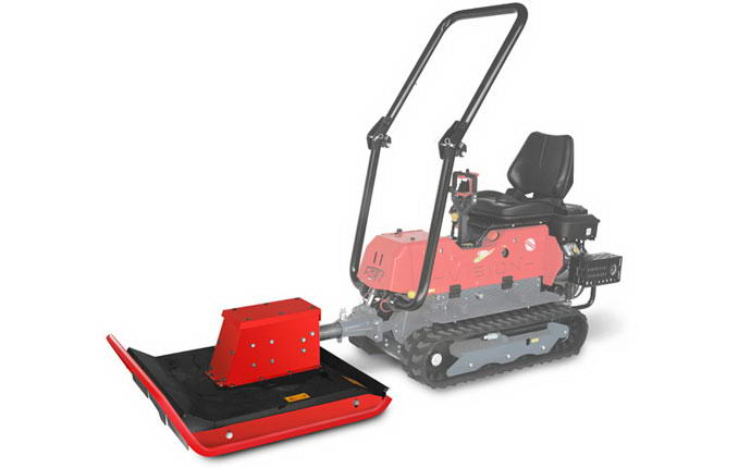 Multifunctional reversible machinery Vision with flat mower.