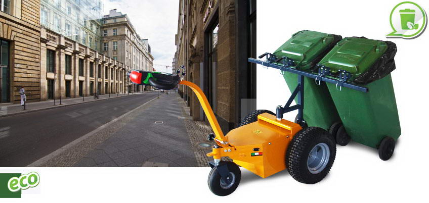 Municipal road clean with electric transporter with 600 W Fort with door bins.