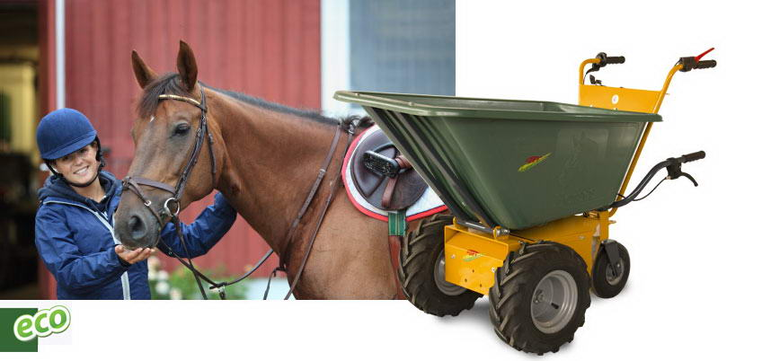 Transporter electric dump horse reinforced plastic to care for horses.